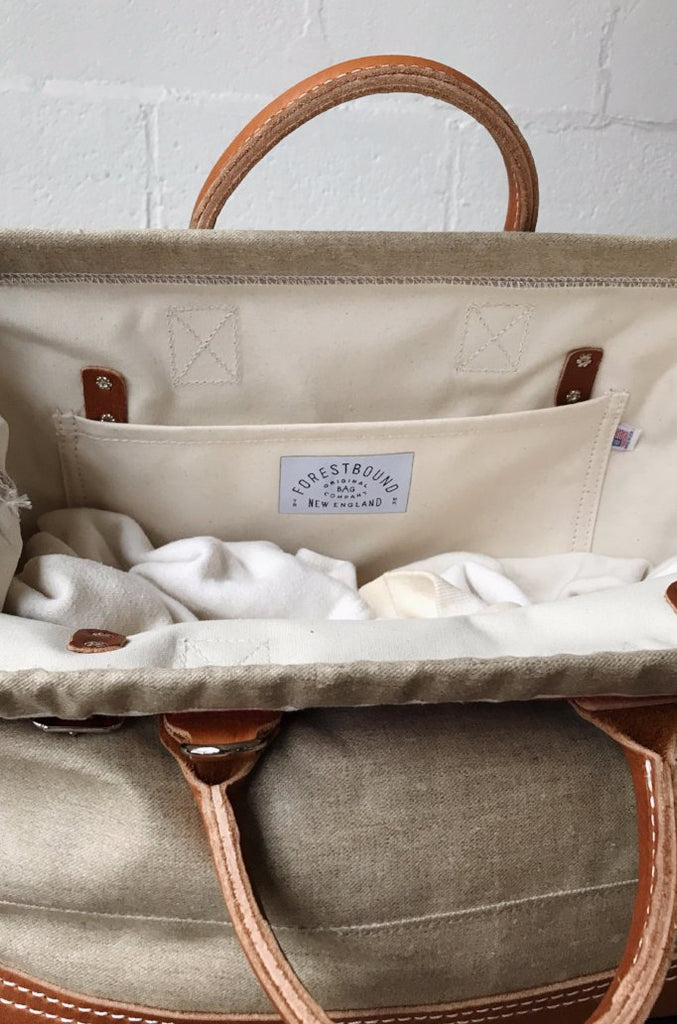 1930's era Salvaged Linen Carryall