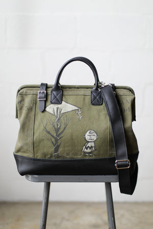 WWII era Salvaged Charlie Brown Canvas Carryall