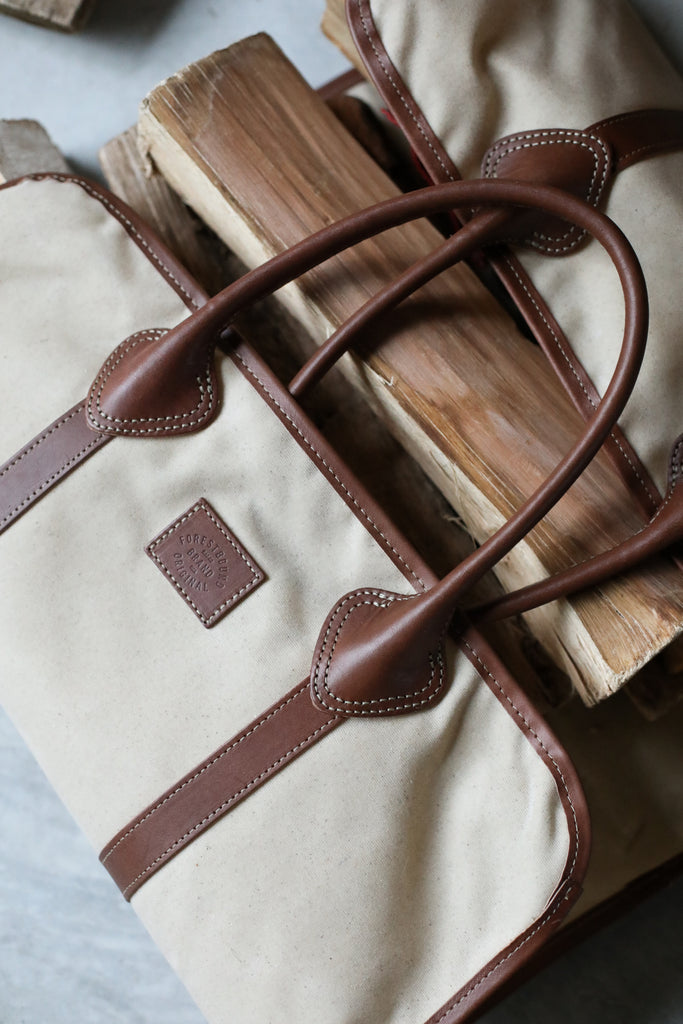 Waxed Canvas Log Carrier - Natural