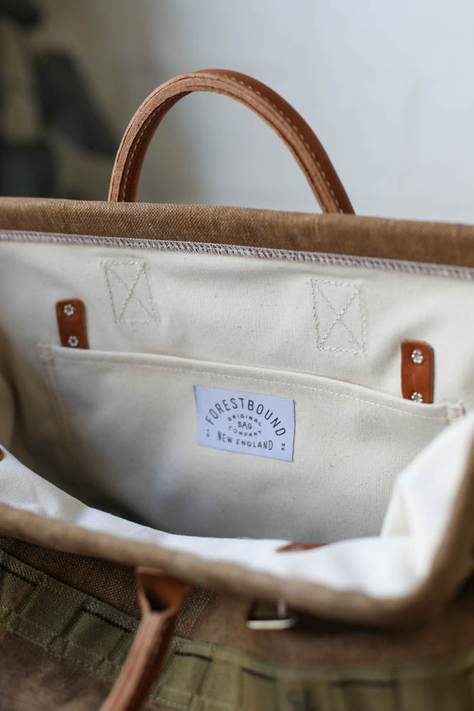 1940's era Salvaged Canvas Carryall