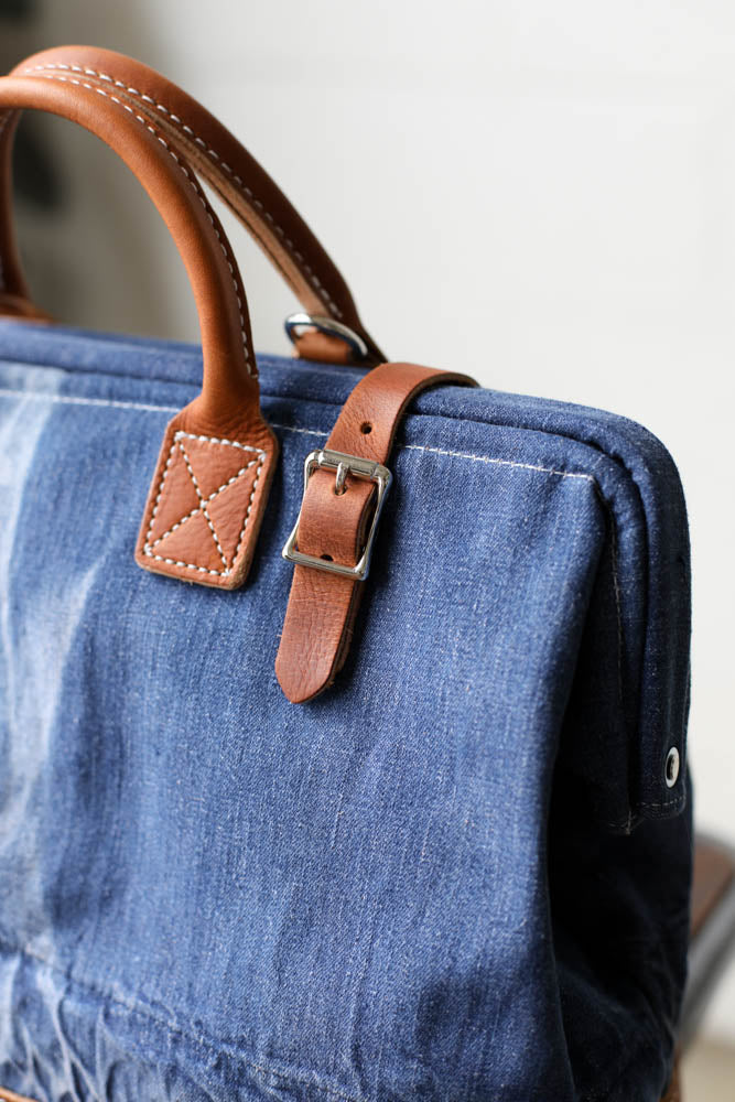 WWII era Salvaged Denim Carryall