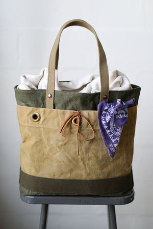 1940's era Salvaged Canvas Tote Bag