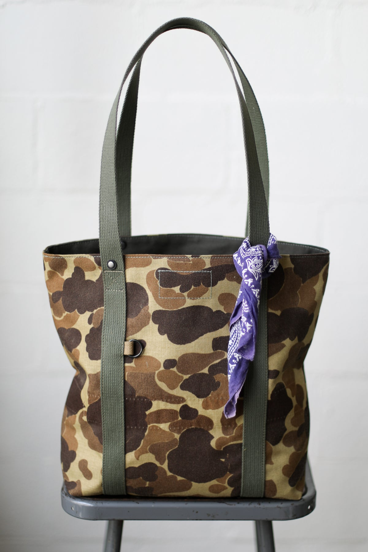 1960's era Salvaged Camo Tote Bag