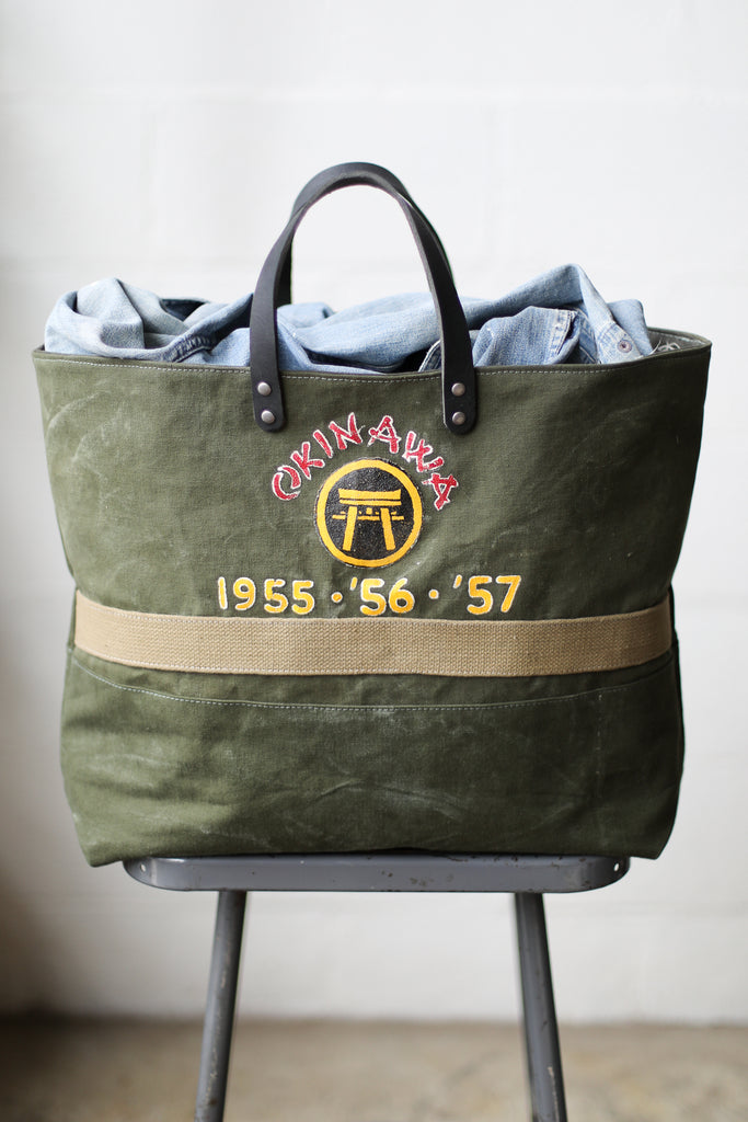 1950's era Salvaged Military Canvas Tote Bag