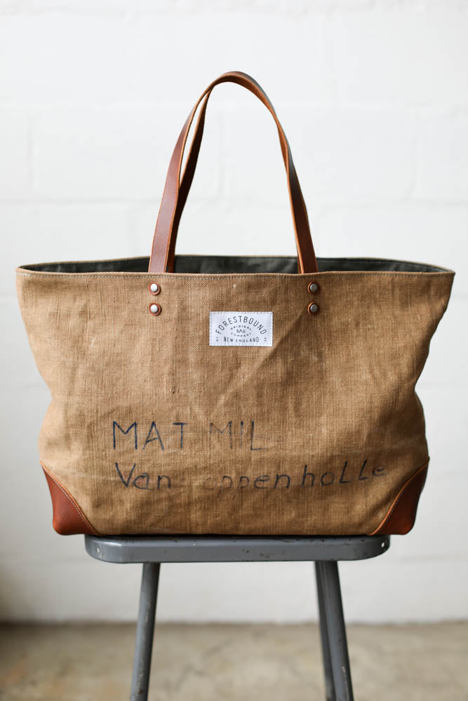 1930's era Salvaged Linen Tote Bag