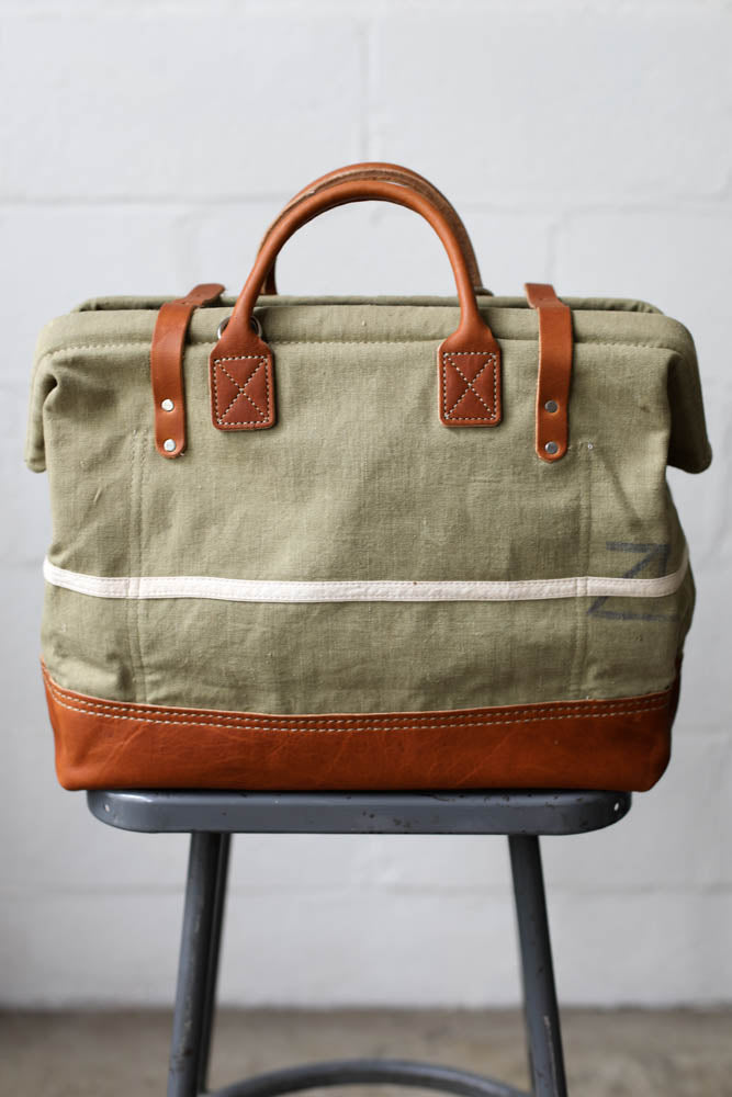 1940's era Salvaged Canvas & Apron Carryall