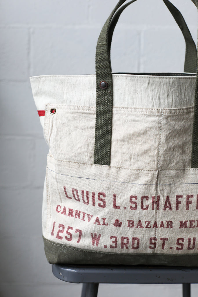 1940's era Salvaged Canvas & Work Apron Tote Bag