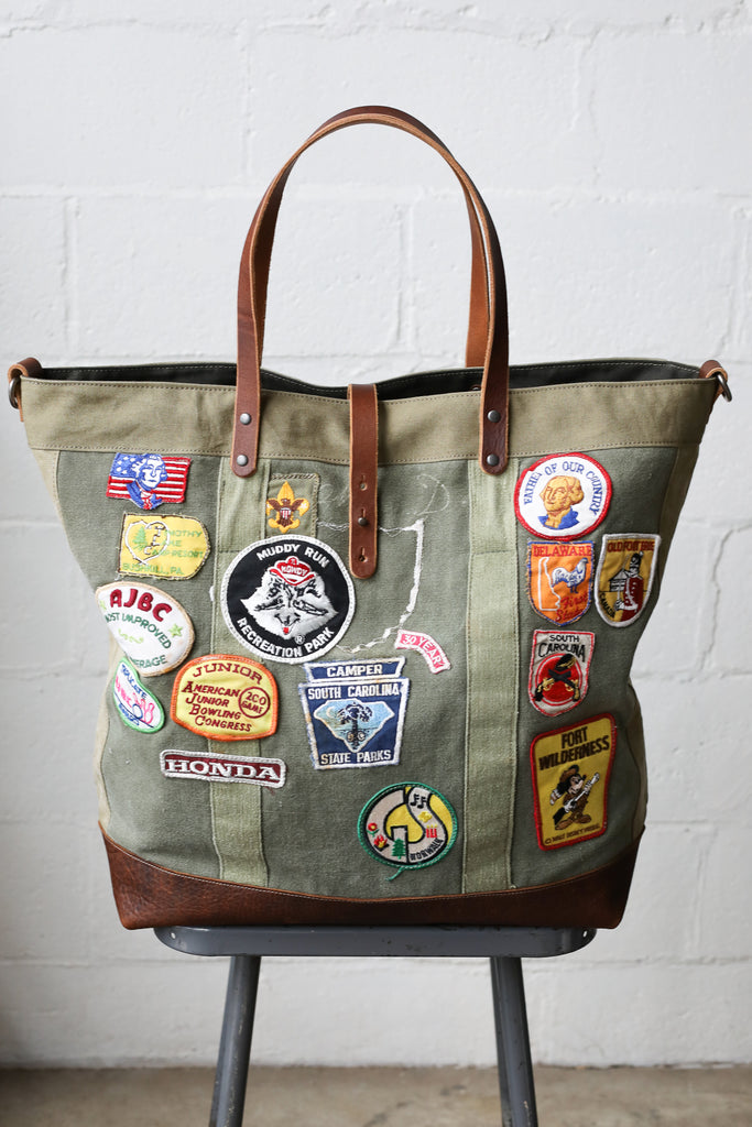 Extra Large 1960's era Patched Canvas Tote Bag