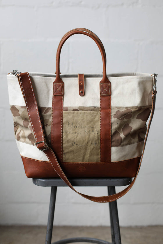 WWII era USN Canvas & 1940's era Camo Tote Bag