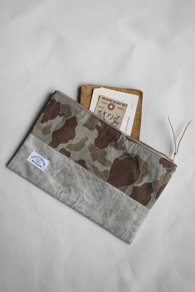 1950's era Salvaged Camo & Canvas Utility Pouch