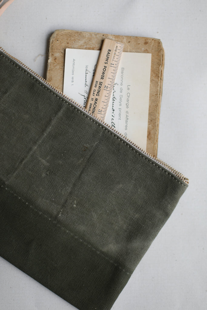 WWII era Salvaged Canvas Utility Pouch