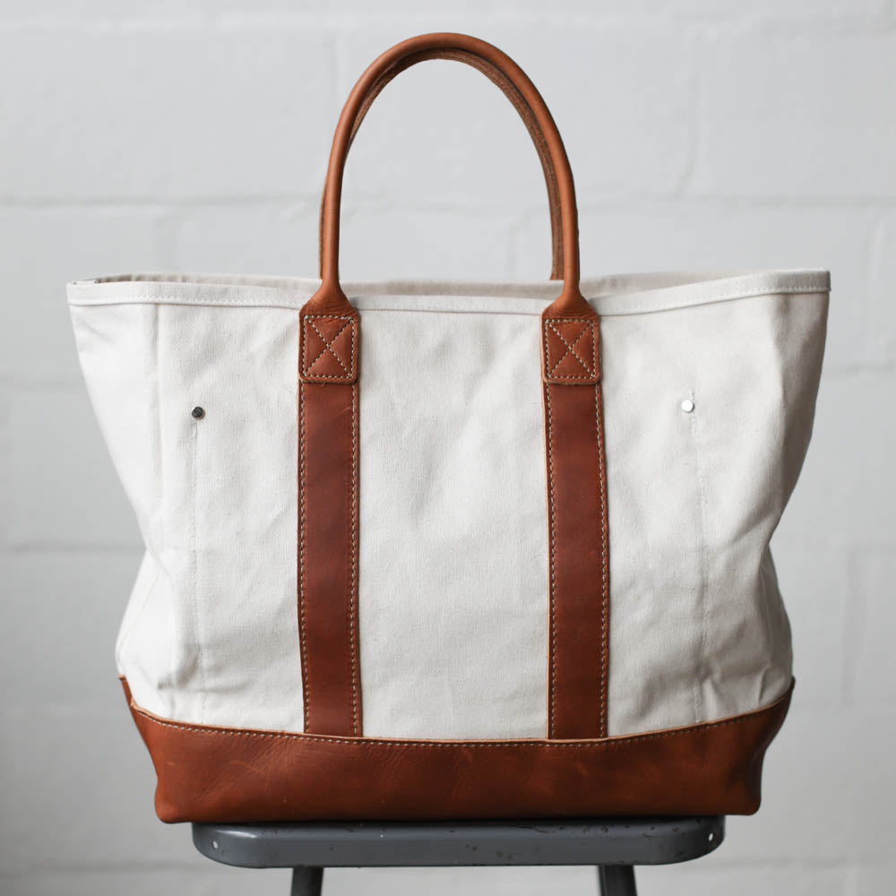 Canvas   Leather Tote Bag - Sample - FORESTBOUND