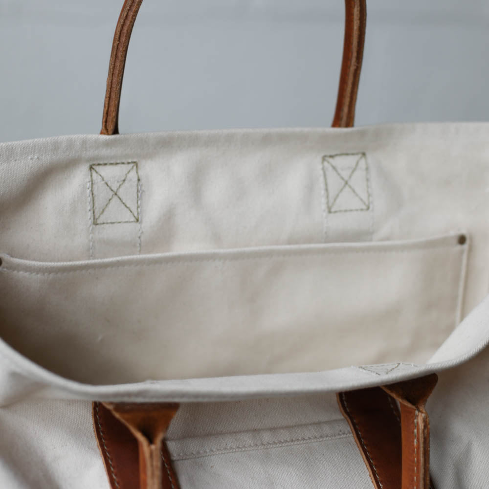 Canvas & Leather Tote Bag - Sample