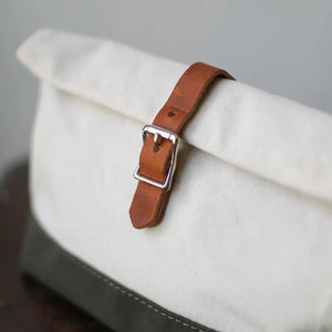 Roll Top Dopp Kit - Natural & Olive Canvas