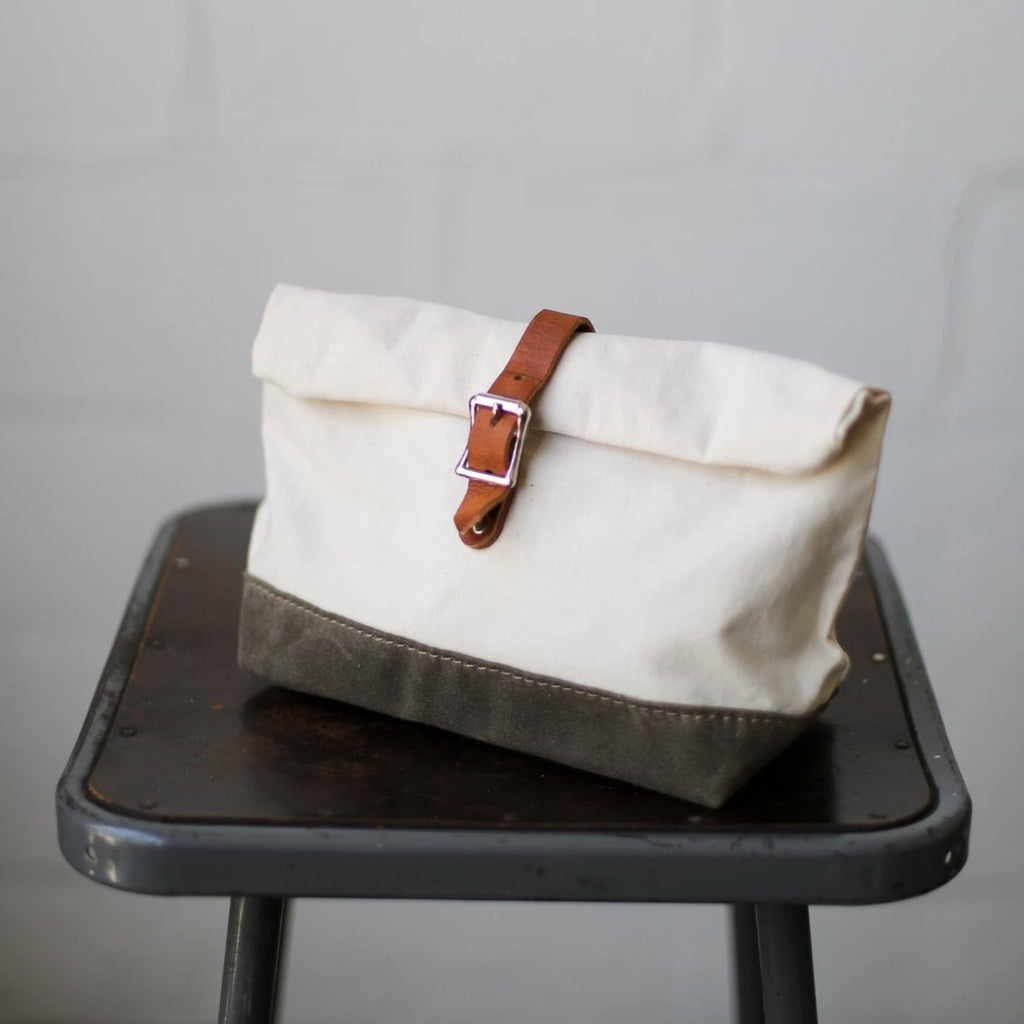 Roll Top Dopp Kit - Natural & Waxed Olive