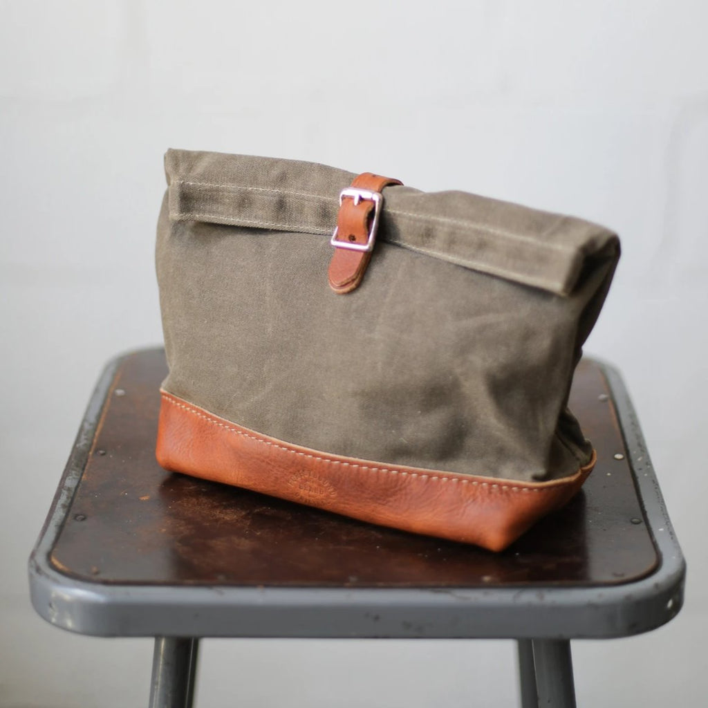 Roll Top Dopp Kit - Waxed Olive