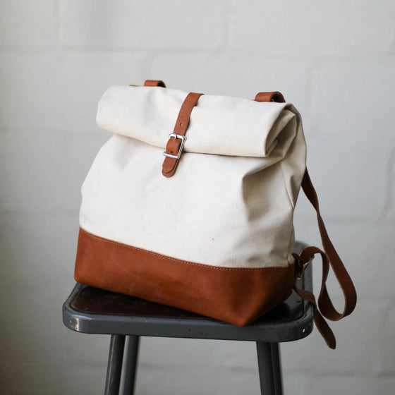 Canvas & Leather Roll Top Backpack