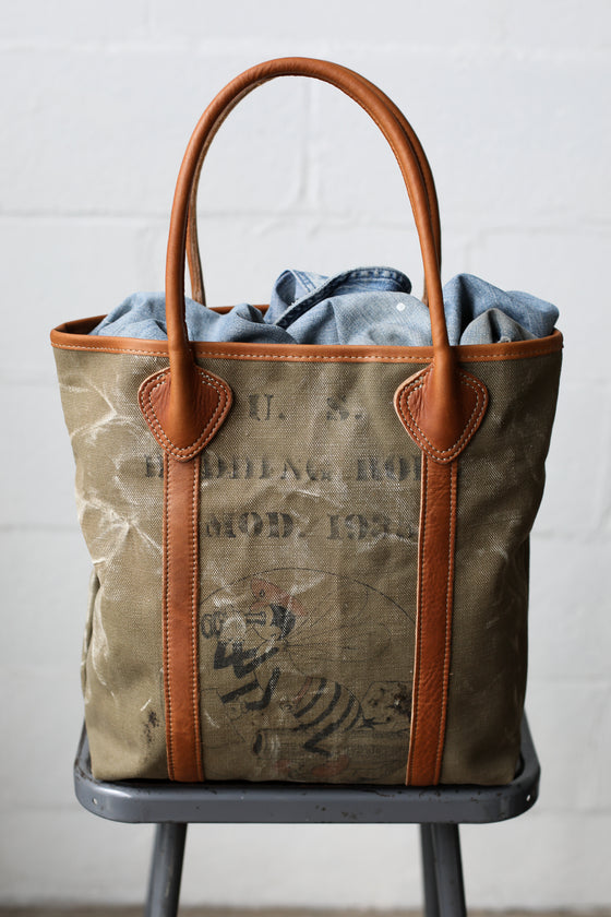 1930's era Salvaged Seabees Canvas Tote Bag