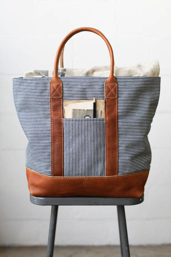 1950's era Ticking Fabric Tote Bag
