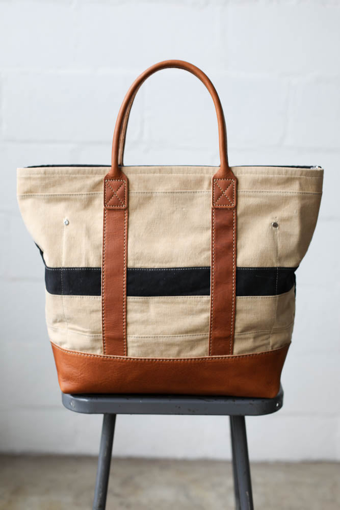 1960's era Salvaged Canvas Tote Bag