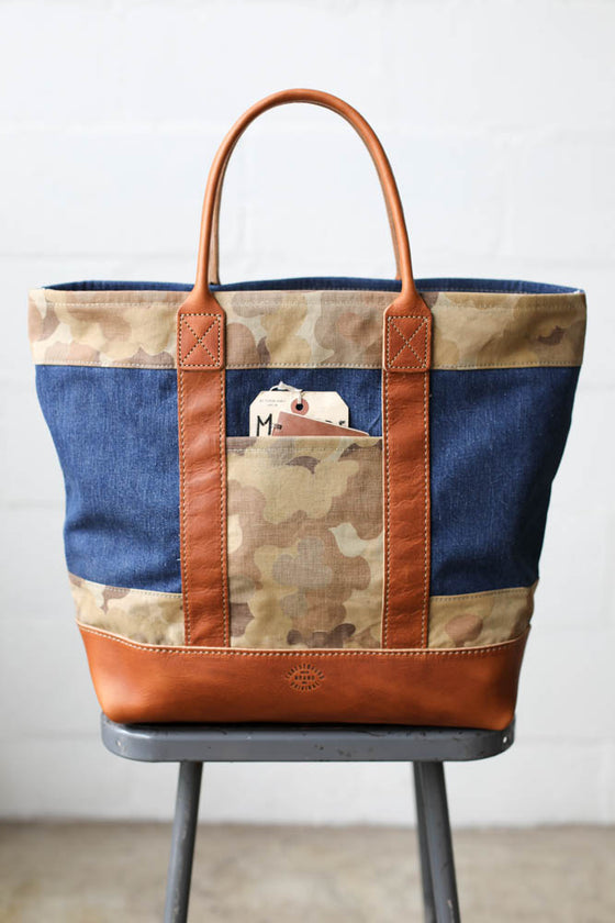 1940's era Salvaged Denim & Camo Tote Bag
