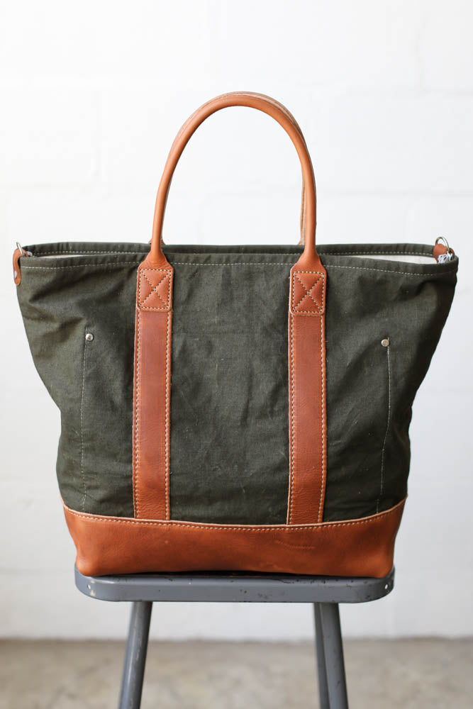 WWII era Salvaged Canvas & Camo Tote Bag