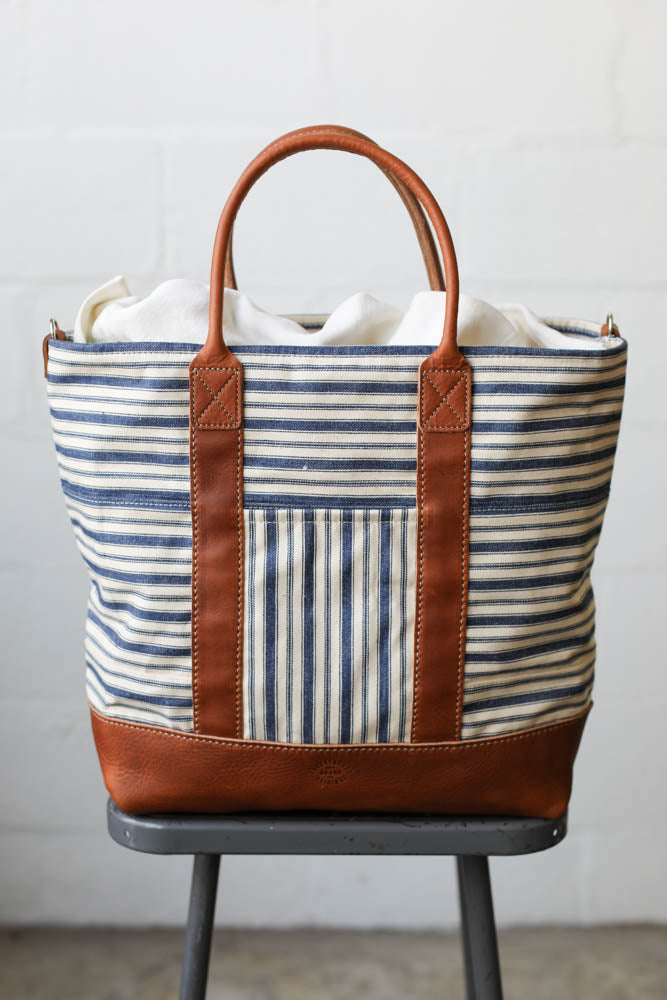 1950's era Salvaged Ticking Tote Bag