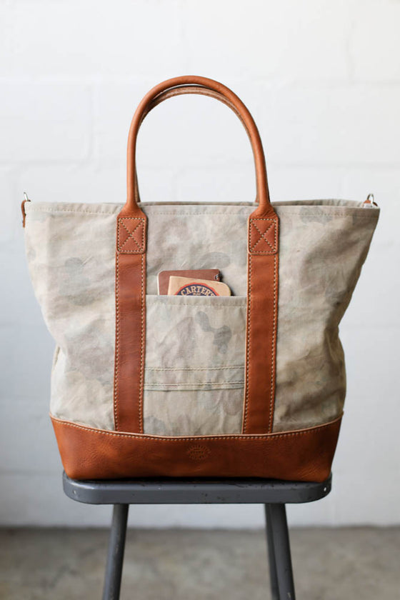 1950's era Salvaged Camo Tote Bag
