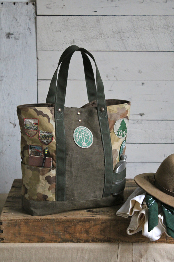 World War 1 era Canvas & Cloud Camo Hiking Pack Carryall