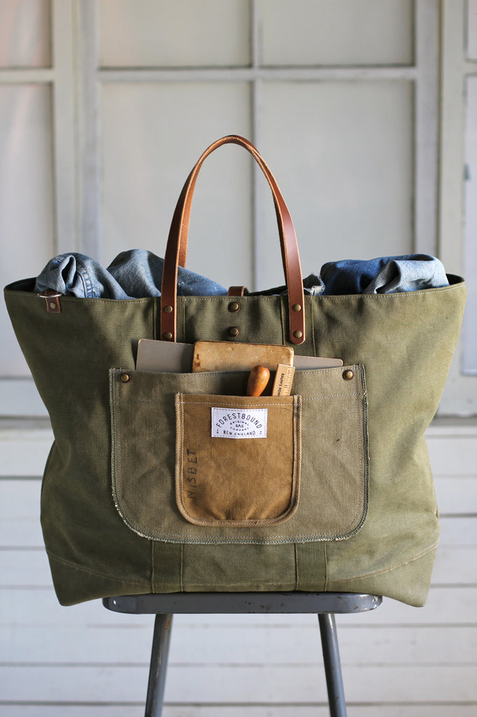 Extra Large 1940's era Canvas Travel Bag