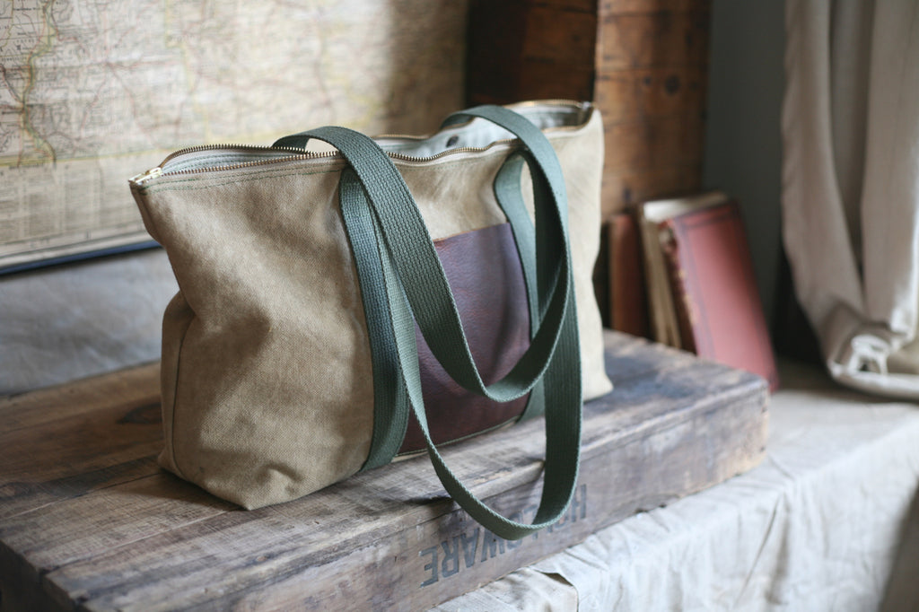WWII era Canvas Zip-Top Carryall - SOLD