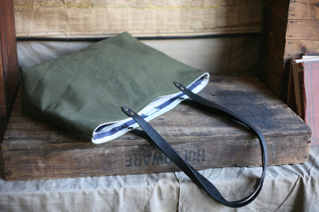 WWII era Military Canvas Tote Bag - SOLD