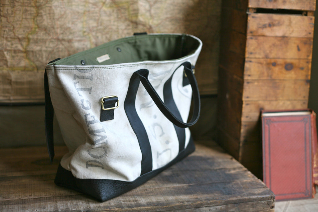 Leather Bottomed 1950's era Canvas Weekend Bag - SOLD