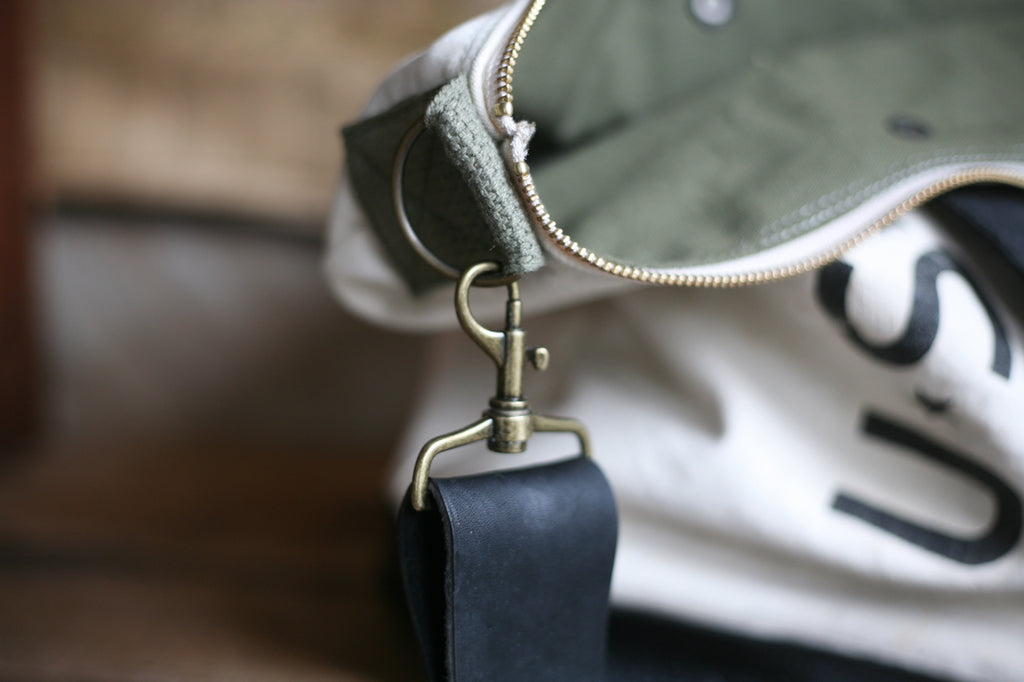 Leather Bottomed WWII era Weekend Bag - SOLD