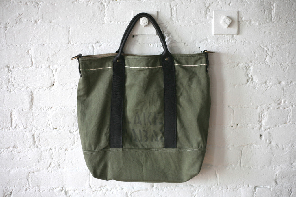 1950's era Cotton & Leather Carryall - SOLD