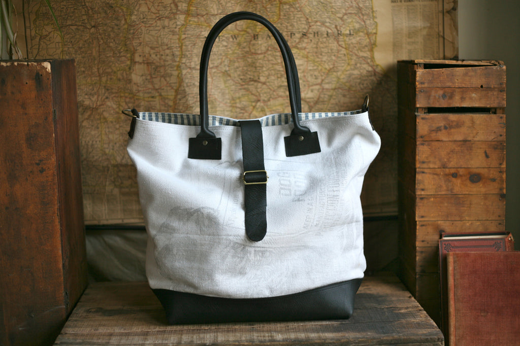 1940's era Cotton & Leather Carryall - SOLD