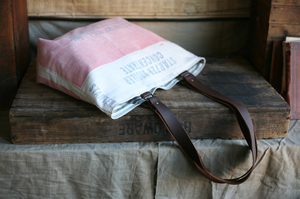 1940's era Cotton Feedsack Tote Bag - SOLD