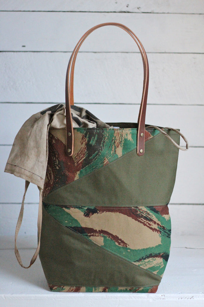 1950's era Lizard Camo & WWII era Canvas Tote Bag