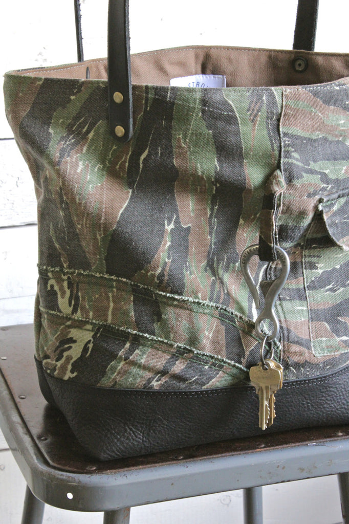 1950's era Camp Camo & Leather Carryall