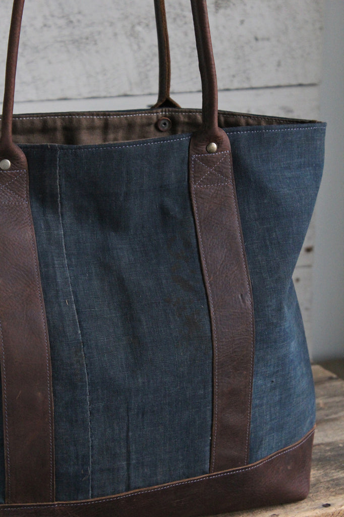 Early 1900's Indigo Dyed Boro Cotton Carryall