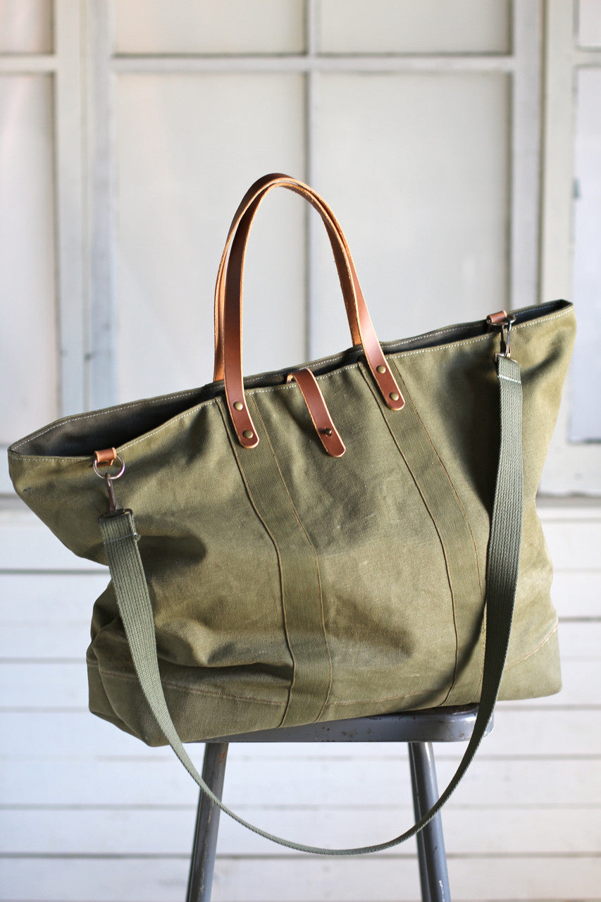 Extra Large 1940 s era Canvas Travel Bag - FORESTBOUND bb52daddbf0f5