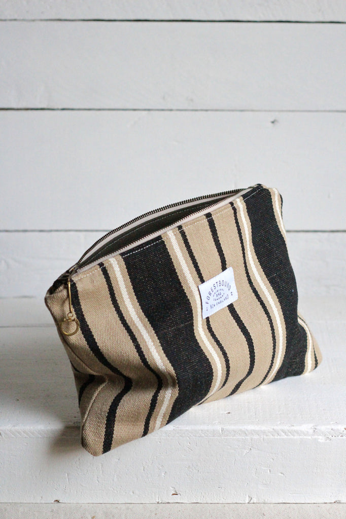 Dead Stock Woven Striped Cotton Utility Pouch