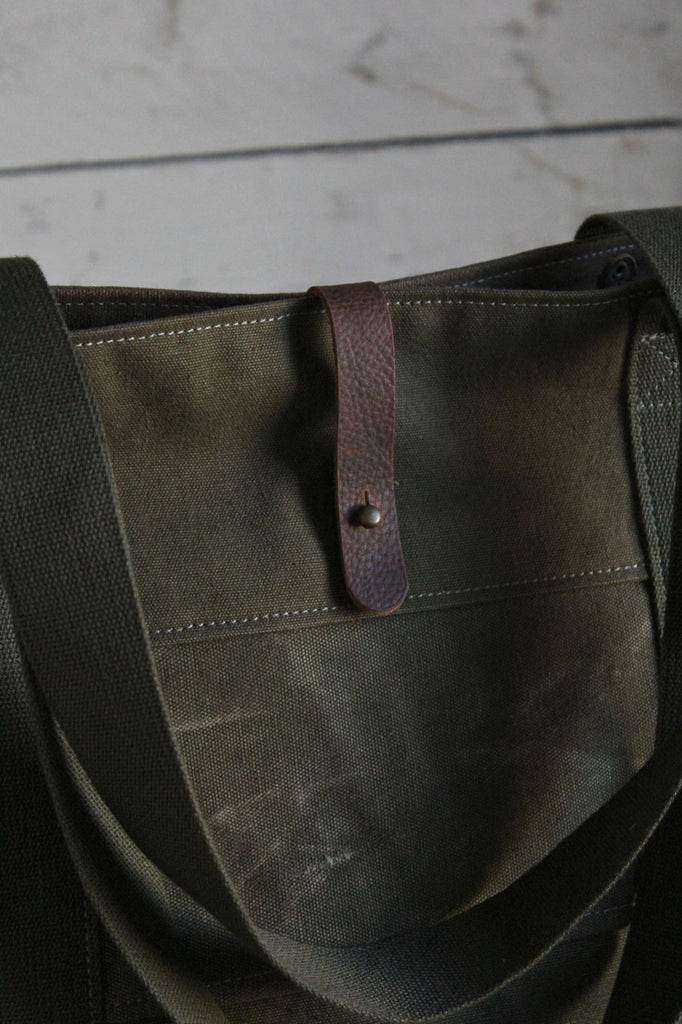 WWII era Striped Military Canvas Carryall