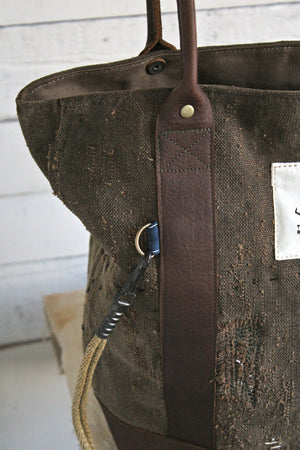 19th Century Japanese Boro Apron and World War 1 era Waxed Canvas Carryall