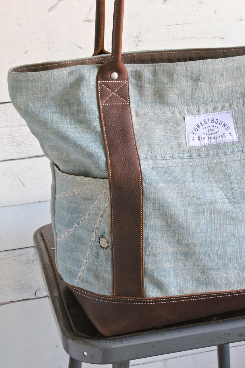 2369f8ecae7f Mid 19th Century Indigo Dyed Cotton Boro Carryall - FORESTBOUND