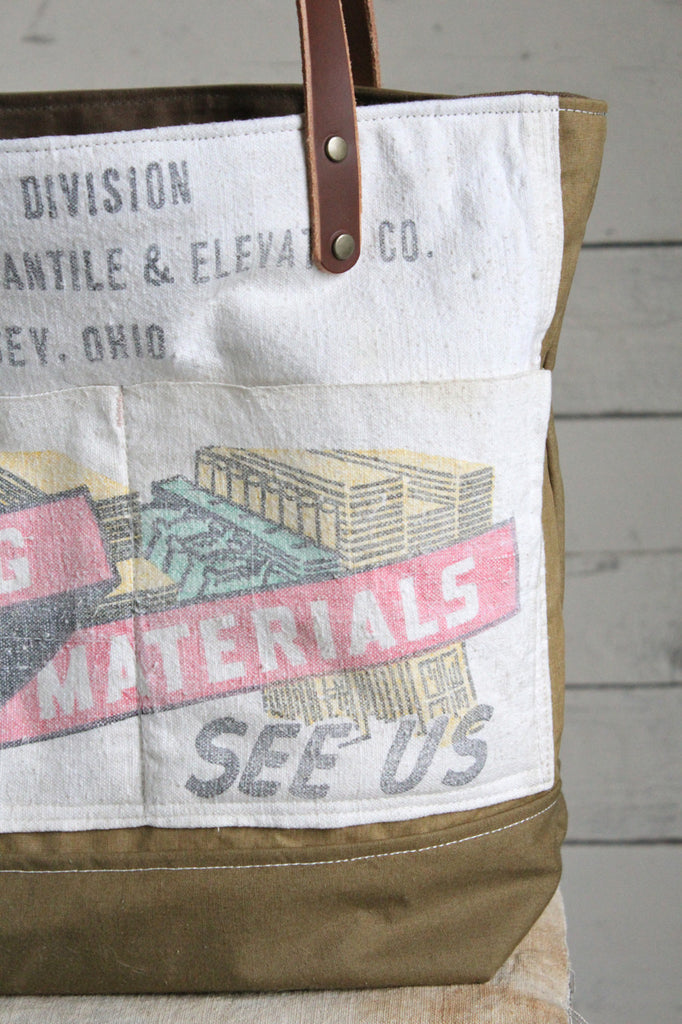 WWII era Canvas & Lumber Apron Carryall