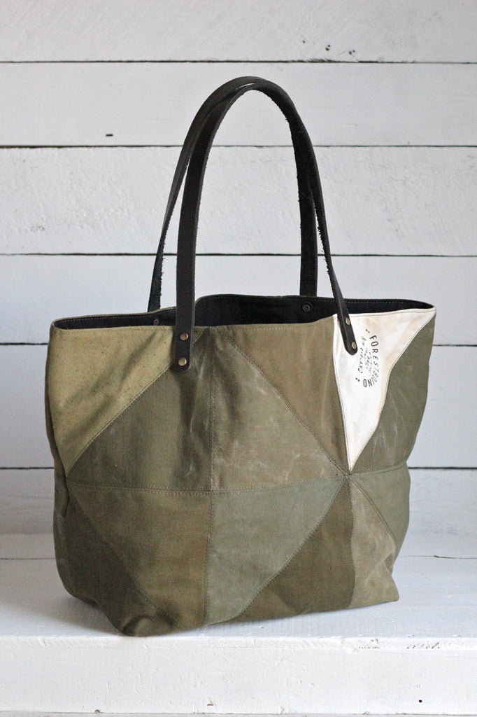 WWII era Quilted Canvas Tote Bag