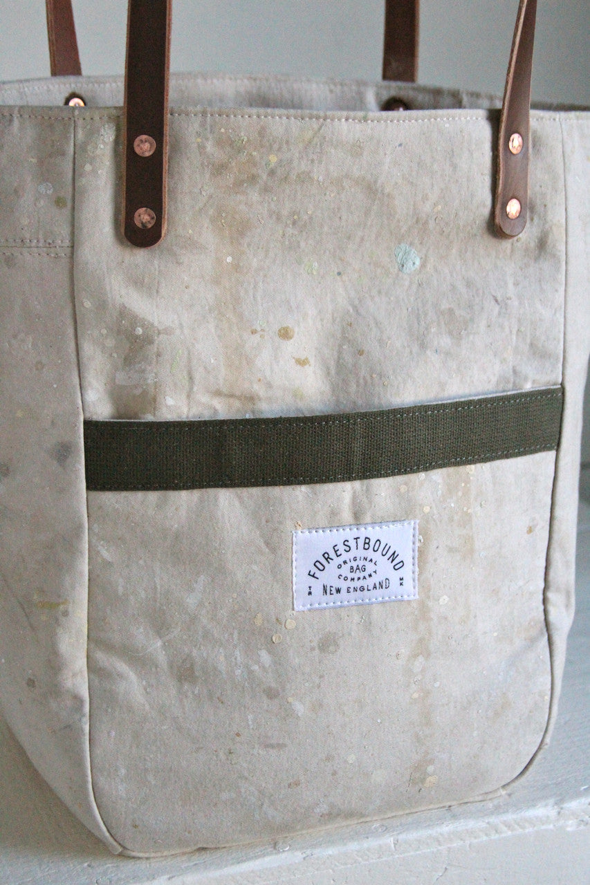 1960's era Painter's Drop Cloth Pocket Tote Bag