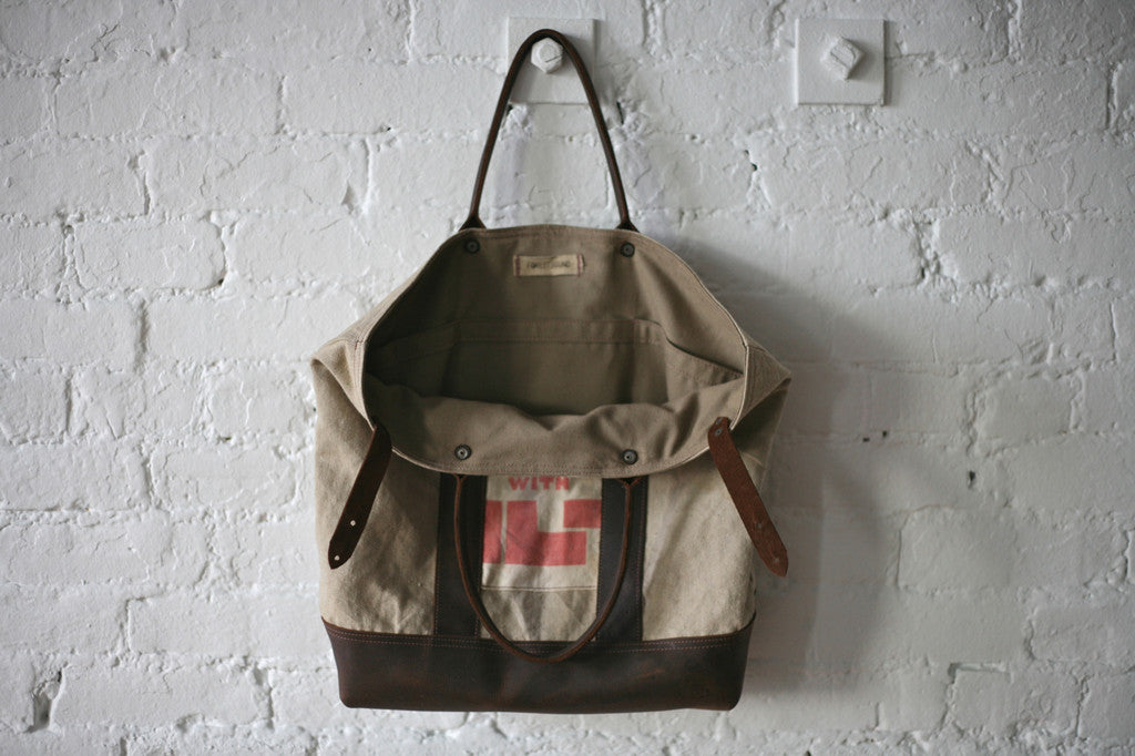 1940's era Linen & Cotton Carryall - SOLD