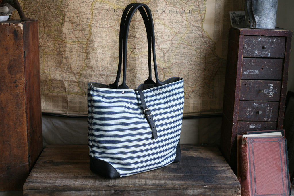 1940's era Ticking Fabric Tote Bag - SOLD